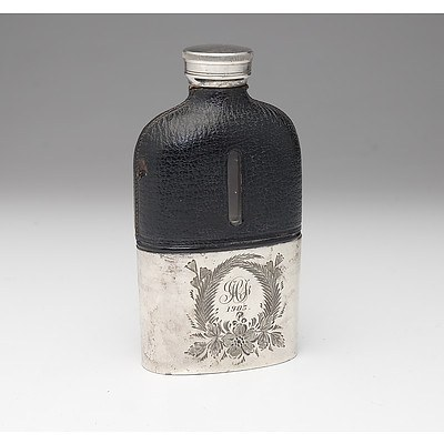 James Dixon and Sons Silver Plate and Leather Hip Flask