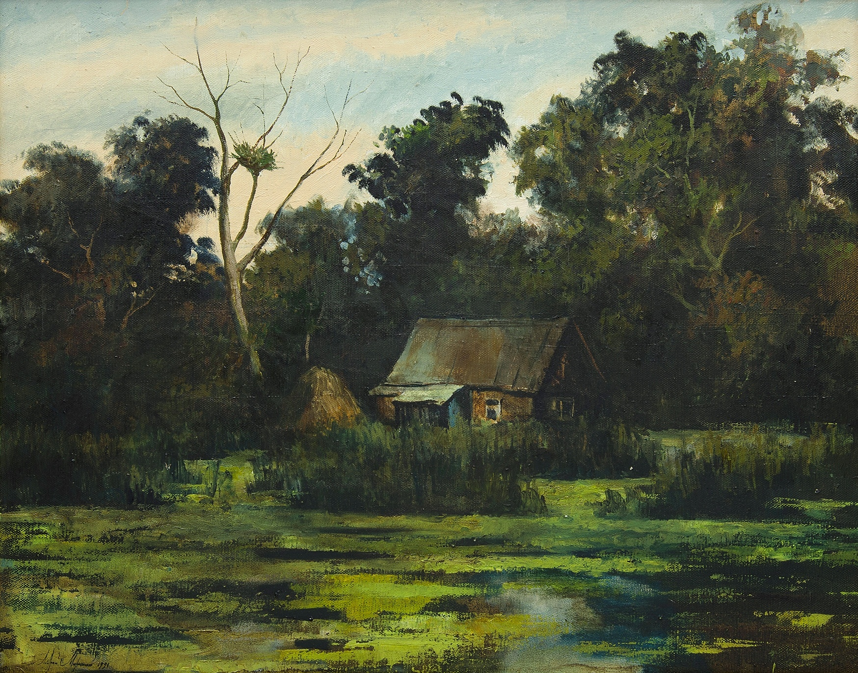 'Russian School, House in the Woods, 1991. Signed & titled in cyrillic verso. Oil on Canvas'