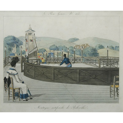 Pierre de la MESANGERE (French 1761-1831): 'Montagne artificielle de Belleville,' Hand Coloured Engraving