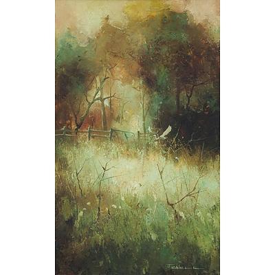 FENNELL, Peter (b.1949) Heron Flying in a Field Oil on Board