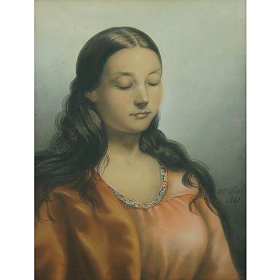 VIDAL, H P South American Girl, 1847 Charcoal & Pastel