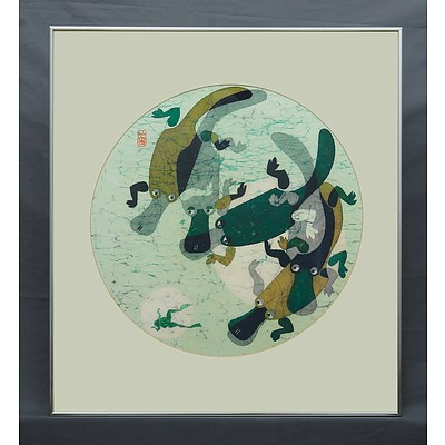 Cornel Swen (1930-) Platypuses & Frog Dye on Washi Paper
