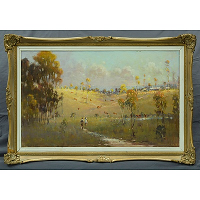 NOLTE, Frederick: 'Home from School, Yass,' NSW. Oil on Board