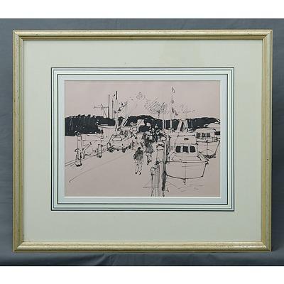 McNAMARA, Frank (1916-1995): Wharf. Ink
