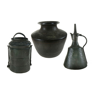 3 Various Eastern Domestic Items. Incl. spun brass ewer, storage pot & stacked meal carrier