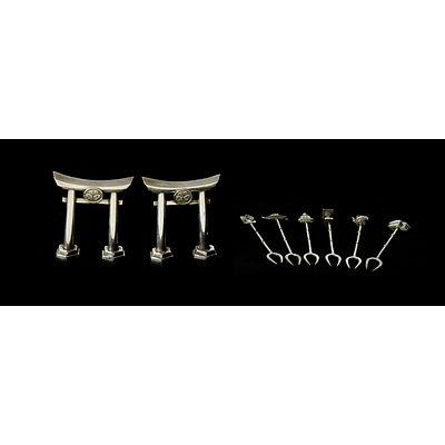 Oriental Stirling Tableware. Incl six Japanese motif cocktail forks & pair of torii gate salt shakers