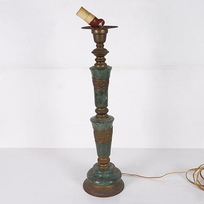 Green Marble & Bronze Lamp Base