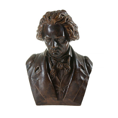 Bust of Beethoven. Painted plaster