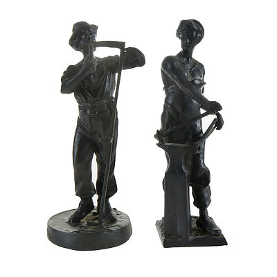 Pair Bronze Heroic Worker Figures. Incl. blacksmith in sabots & harvester stoning a scythe , signed Cali?