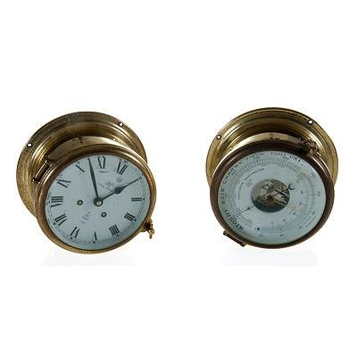 Matching Schatz Ships Clock & Barometer. Brass cased bell strike clock. Barometer incorporates thermometer. Unserviced, running & striking