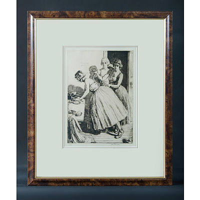 THOMPSON, Ernest H (New Zealand 1891-1971) 'Preparing for Ballet,' 1930 Drypoint 1/75