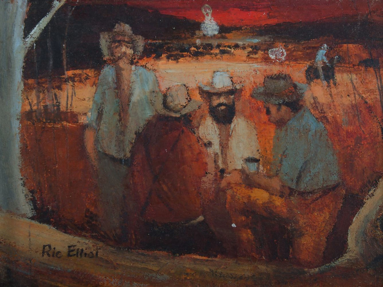 'ELLIOT, Ric (1933-1995) Drovers Camp Oil on Board'