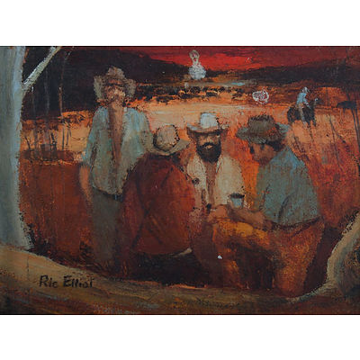 ELLIOT, Ric (1933-1995) 'Drovers Camp' Oil on Board