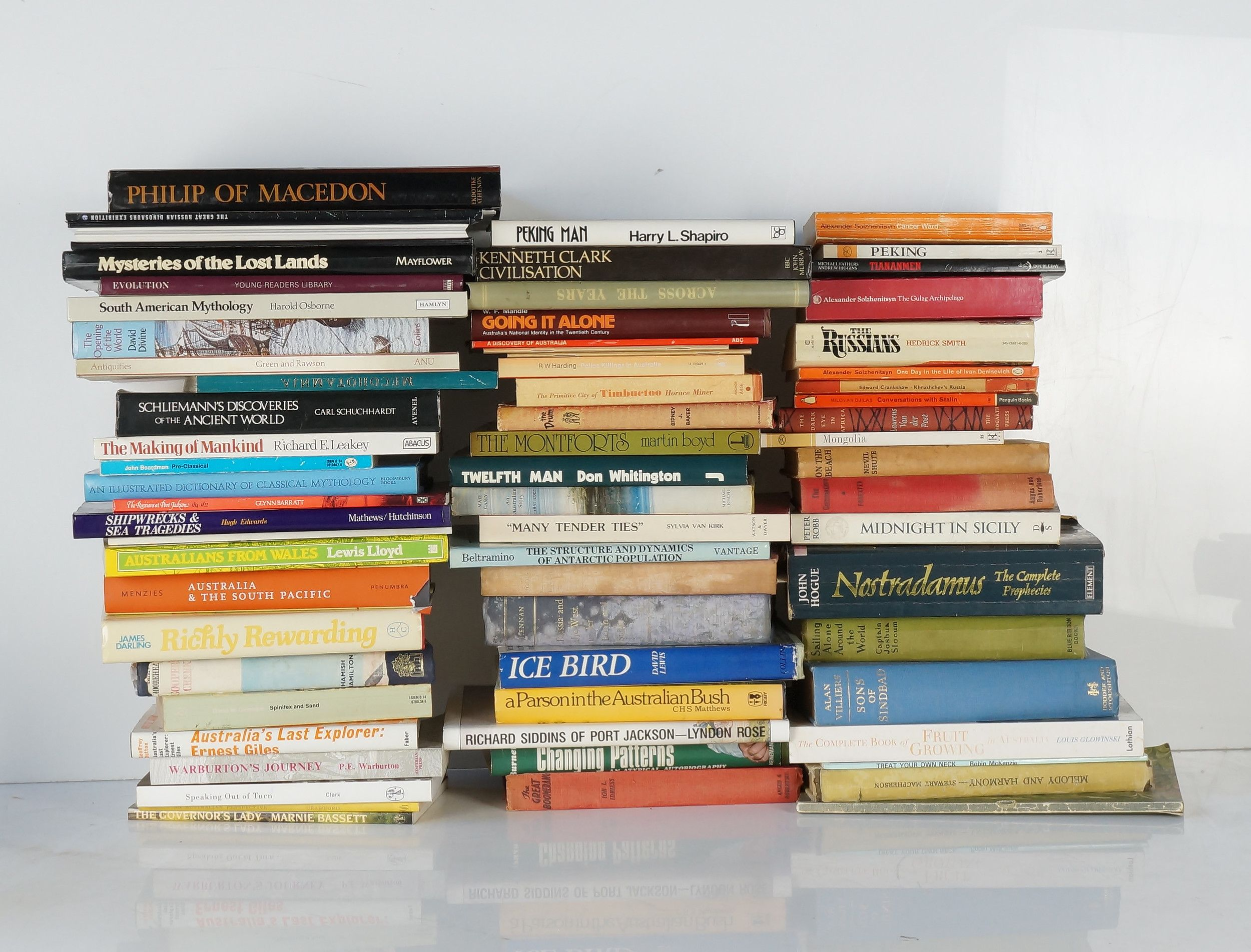 Very Large Group of Books on Aboriginal History, Philosophy, Diplomacy,  Poetry, Maps, Inlcuding Damascus to Palestra and Egyptian Myths and Legends