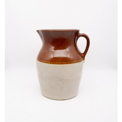 Antique American Glazed Ceramic Water Pitcher