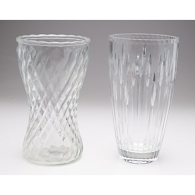 One Moulded Glass Vase and Another Cut Glass Vase