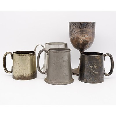 Collection of Gifted Silver Plate and Pewter Table Wear Including Cottesloe Golf Club Goblet and More