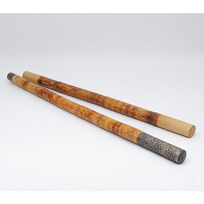 Two Lao Calendar Sticks, One Silver Mounted