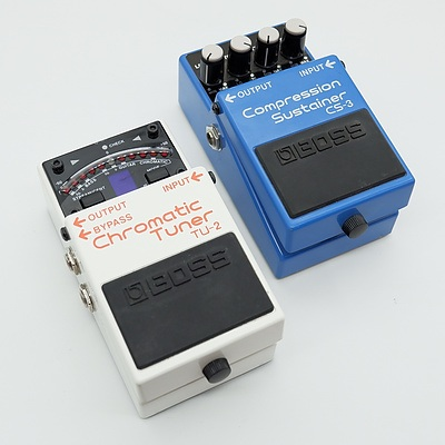 Boss Compression Sustainer CS-3 and Boss Chromatic Tuner TU-2 Guitar Pedals