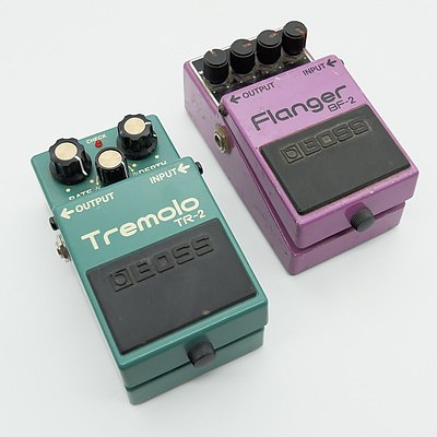 Boss Tremolo TR-2 and Boss Flanger BF-2 Guitar Pedals