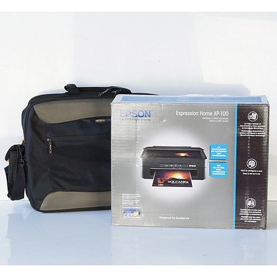 New Epson Expression Home XP-100 Printer and Targus Laptop Bag