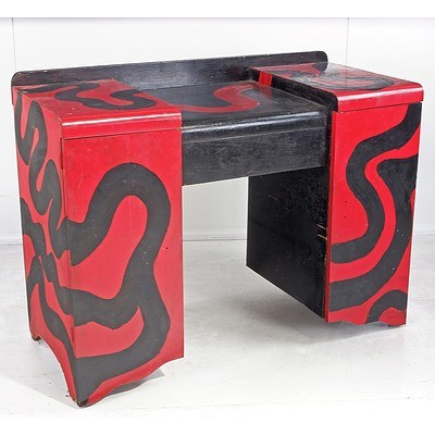 Dressing Table Decorated with Pop Art Style Motif Circa 1960s