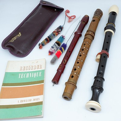 Group of Recorders, Recorder Cleaners and Book