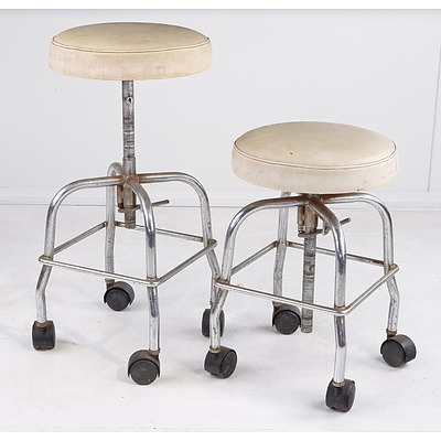 Two Vintage Industrial Style Stools