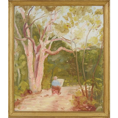 Artist Unknown (Narrabeen NSW) Evelyn Sitting in Chair, Oil on Board