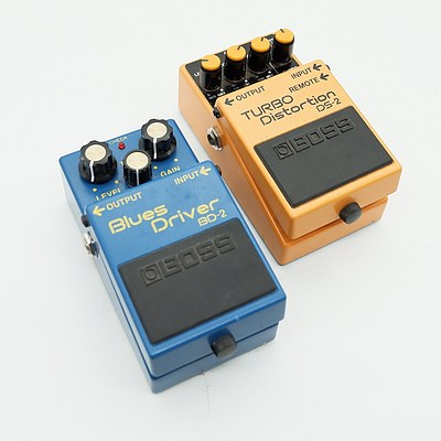 Boss Blues Driver BD-2 and Boss Turbo Distortion DS-2 Guitar Pedals