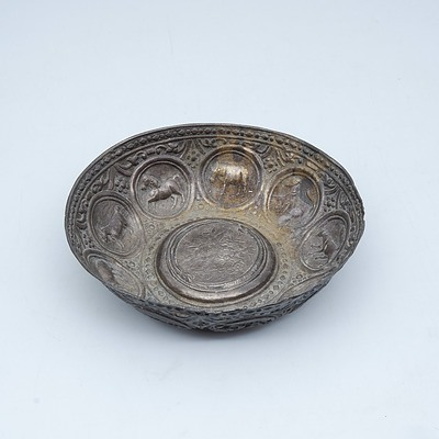 Repousse Dish Decorated with Nine Various Animals with Inscription Verso Bapha 1978