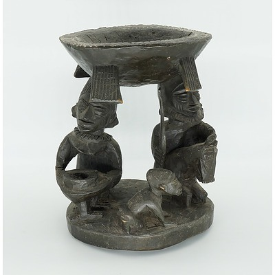 African Craved Bowl Held up Two Figures, Ivory Coast Mid 20th Century