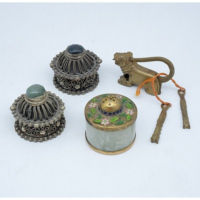 Pair of Filigree and Stone Boxes, Chinese Cloisonne and Stone Pepper Pot and a Brass Tiger Form Lock