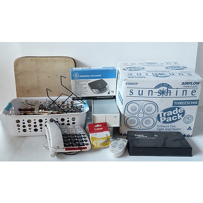 Group of Various Homeware Items Including Business Card Sorters, Exhaust Fan Light/Heater Combo, Record Care Kit and More