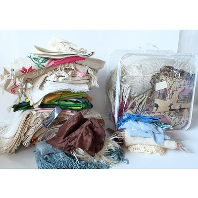 Group of Linen, Quilts, Sewing Materials and More