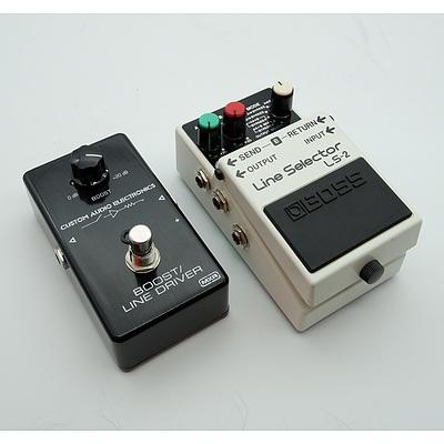 Boss Line Selector LS-2 and MXR Custom Audio Electronics Line Driver Guitar Pedals