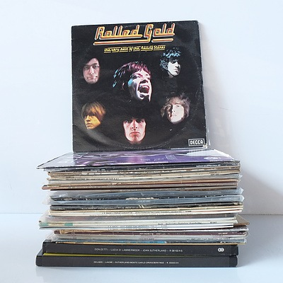 Large Group of Classical and Rock Vinyl Records Including Eric Clapton, Rolling Stones, Van Halen, Boston and More