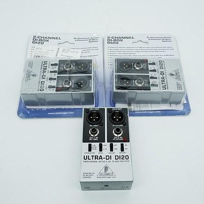 Lot of Three Behringer Ultra-DI DI20's