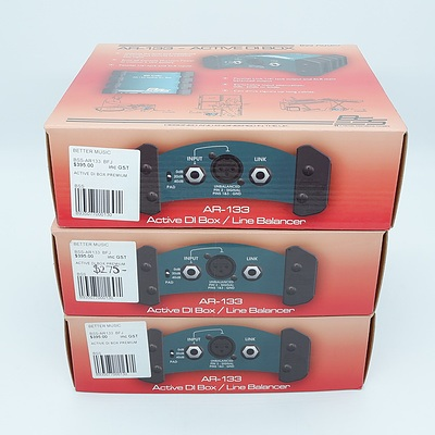Lot of Three BSS Audio AR-133 Active DI Box - Brand new
