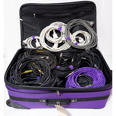 Large Group of Approx 50 XLR, TRS and Power Extension Cables