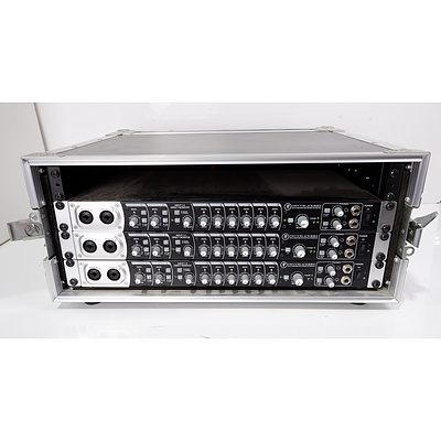 Three Mackie Onyx Blackbird Premium 16x16 Recording Interface in Carvin Road Warrior Case