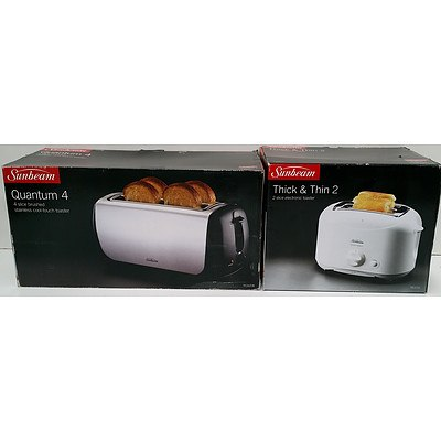 Sunbeam Quantum 4 and Thick & Thin 2 Toasters - Brand New