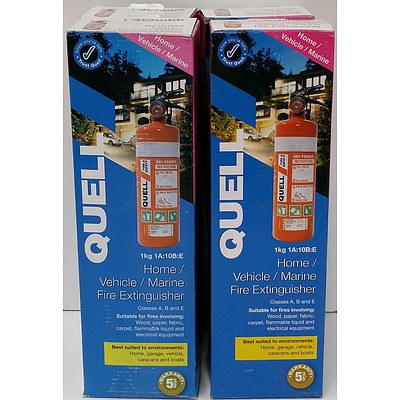 Quell Home, Vehicle, Marine 1kg Fire Extinguishers - Lot of Four - Brand New