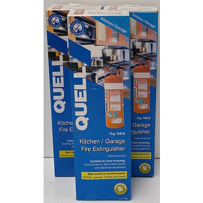 Quell Kitchen and Garage 1kg Fire Extinguishers - Lot of Three - Brand New