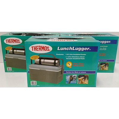 Thermos Lunch Lugger Cooler and Flask Sets - Lot of Three - Brand New