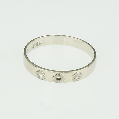 18ct White Gold Wedding Ring With Two Small Diamonds