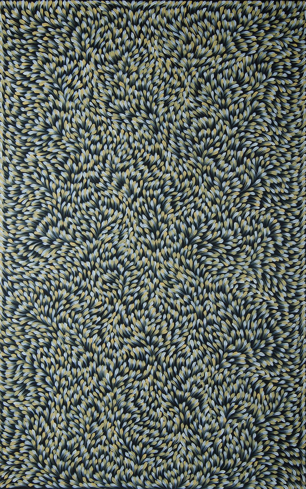 'PETYARRE, Gloria (born c.1938) Bush Medicine Leaves, 2012. Stamp verso for Mimi Art Gallery, cat 2876. Certificate of authenticity available Acrylic on Linen'