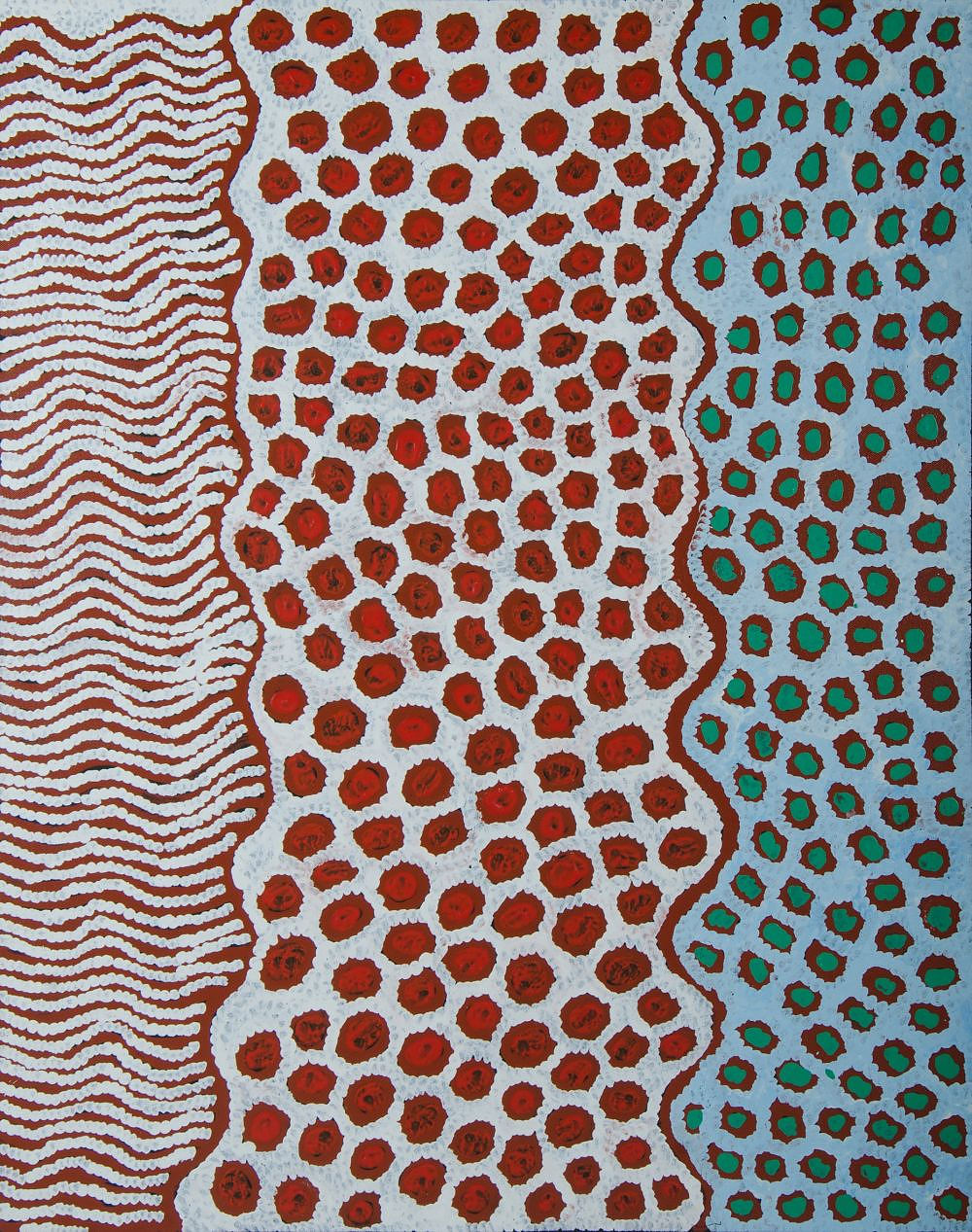 'NAPALJARRI, Susan Gibson (b.1972) Womens Ceremony, 2015. Stamp verso for Mimi Art Gallery, cat 2641. Certificate of authenticity available Acrylic on Linen'