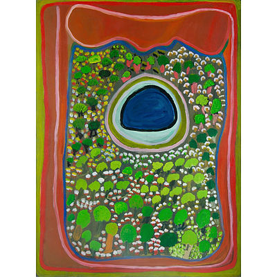 CHUGUNA, Jukuna Mona (b.1933) 'Puntarr,' 2003. Inscribed Mangkaja Arts (cat PC236/03) Acrylic on Canvas