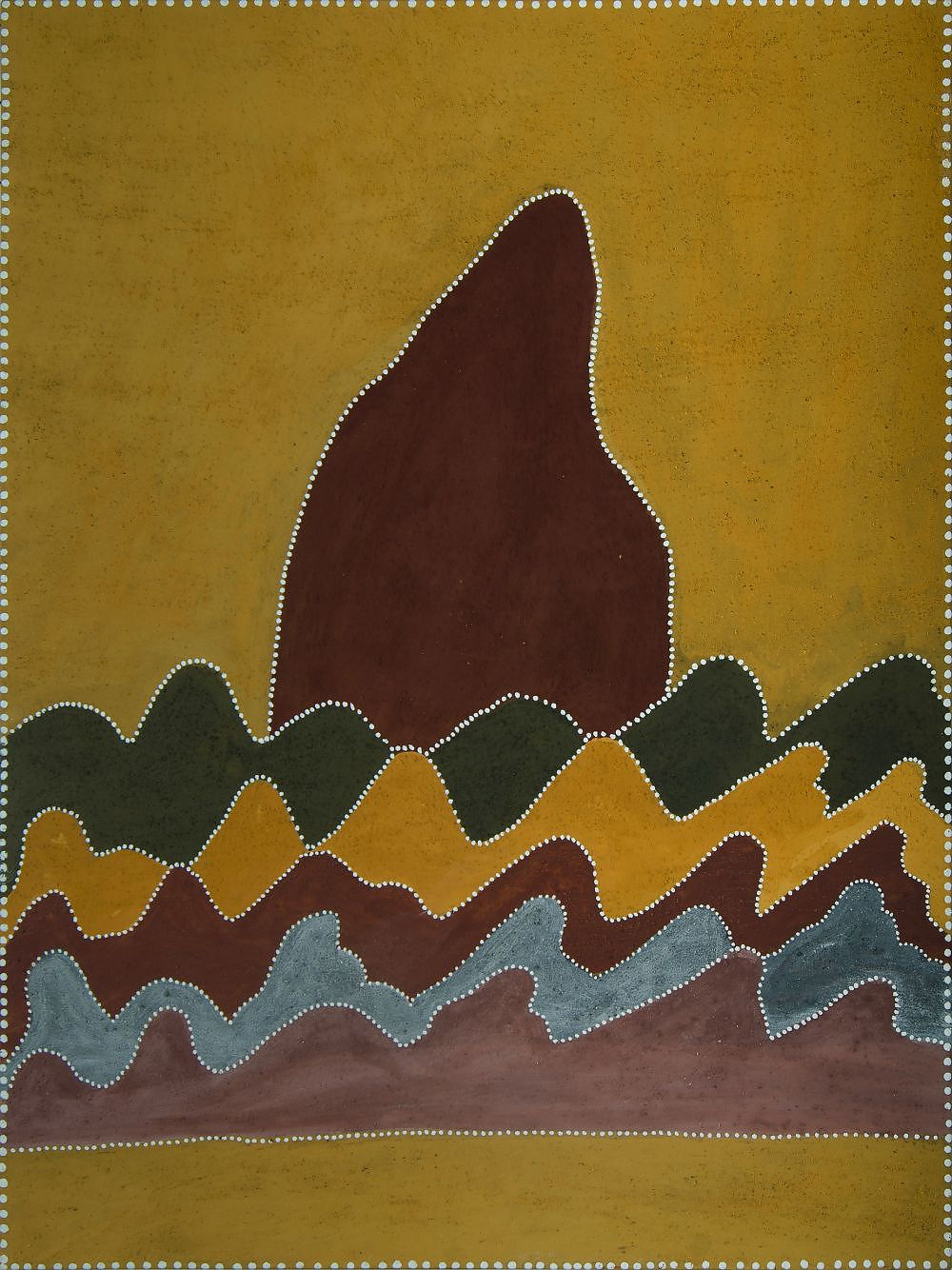 'CARRINGTON, Betty (born c1944) Untitled, 2005. Signed verso. Inscribed Warmun Art Centre, cat WAC088/05 Ochre on Canvas'